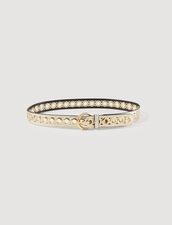 Cinturón, hebilla redonda y ojales : Cinturones color Oro