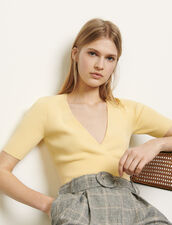 Jersey corto de escote cruzado : Jerseys & Cárdigans color Amarillo