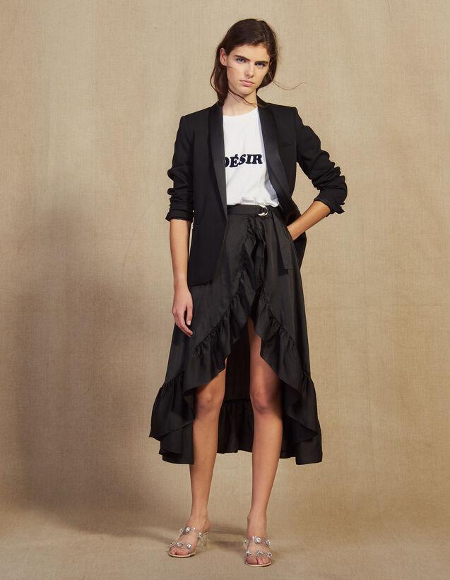 Falda Pantalón Asimétrica Y Con Volantes : Faldas & Shorts color Negro