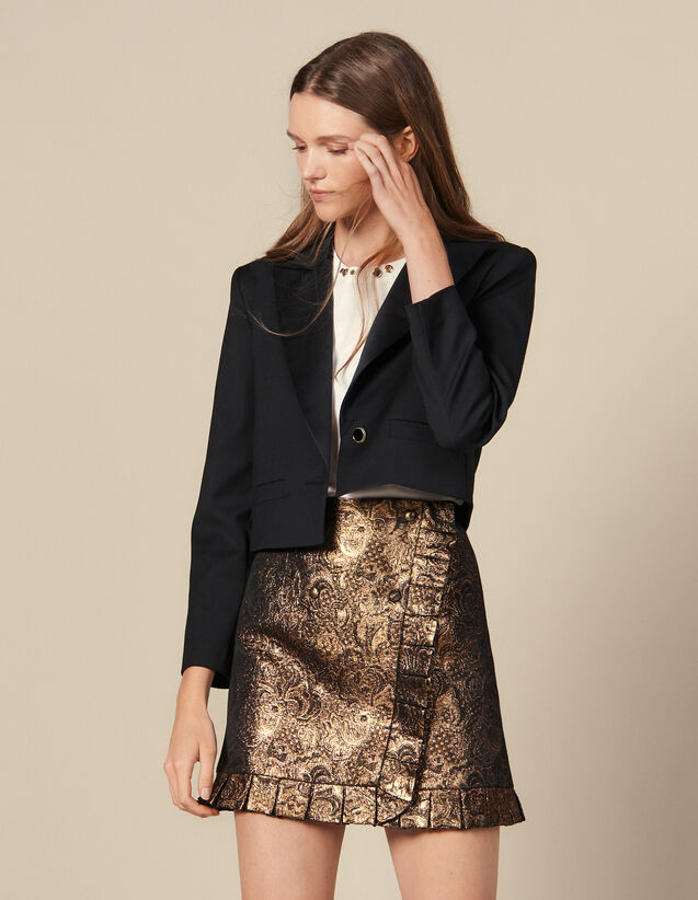 Falda Efecto Cruzado De Brocado : Faldas & Shorts color Oro