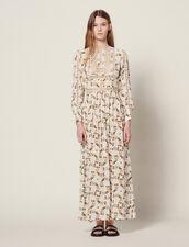 Vestido Largo Fluido Estampado Mariposas : Vestidos color Crudo