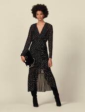Vestido largo lúrex, volantes y lunares : Vestidos color Negro