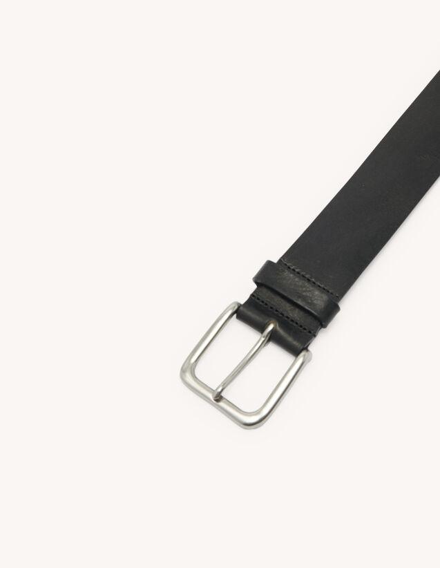 Cinturón informal de piel : Cinturones color Negro