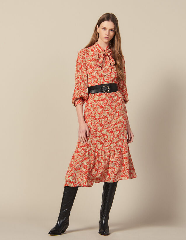 Vestido Largo Estampado De Seda : Novedades color Rojo