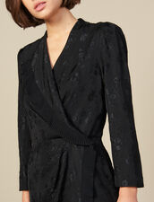 Vestido corto cruzado de jacquard : FBlackFriday-FR-FSelection-30 color Negro