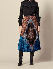 Falda larga plisada y estampada : Faldas & Shorts color Multicolor