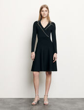 Vestido corto de punto con cuello sastre : Vestidos color Negro