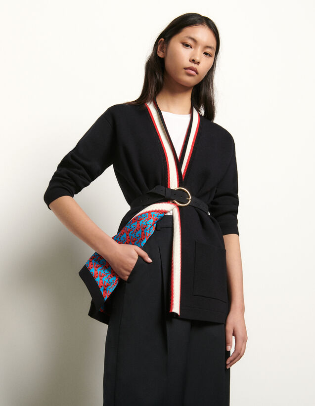 Cárdigan con forro estampado : Jerseys & Cárdigans color Negro