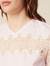 Top Con Inserto De Encaje : Tops & Camisas color Rosa