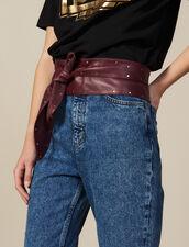 Cinturón De Piel Lisa Anudable : Novedades color Burdeos