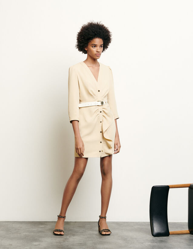 Vestido corto con faldón : Colección de Verano color Beige