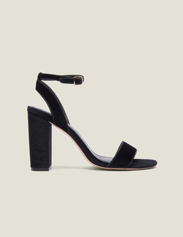 Sandalias De Tacón Grueso De Terciopelo : null color Negro