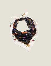 Fular De Seda Con Estampado De Botines : Bufandas color Negro