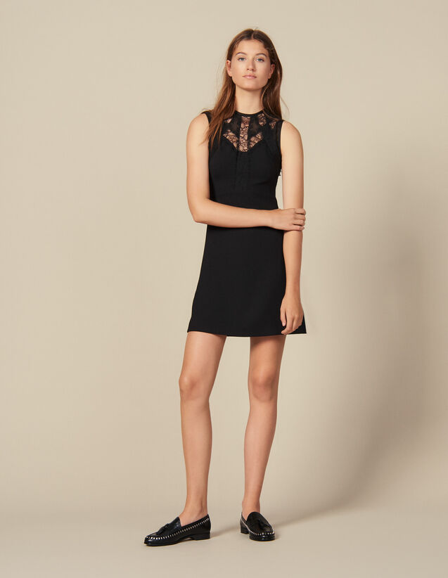 Vestido con insertos de encaje : FBlackFriday-FR-FSelection-30 color Negro