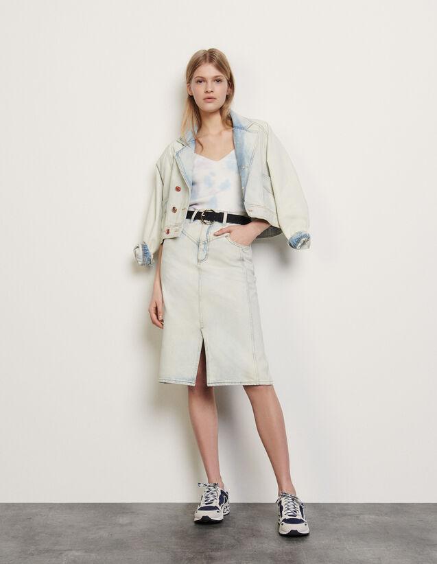 Falda de denim, desteñido efecto nieve : Faldas & Shorts color Blue Vintage - Denim