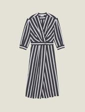 Vestido Midi De Rayas En Contraste : null color Negro
