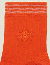 Calcetines De Algodón Con Bordado : Calcetines color Naranja Bermellón
