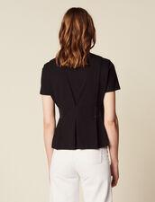 Camiseta Escotada En V Con Pespuntes : null color Negro