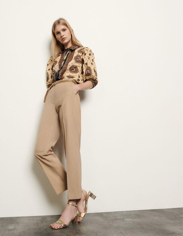 Pantalón de sastre de corte recto : Pantalones color Beige