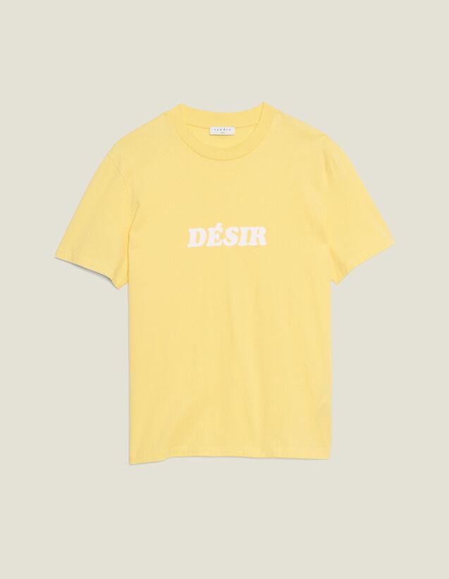 Camiseta De Algodón Con Mensaje : Camisetas & Polos color Amarillo claro