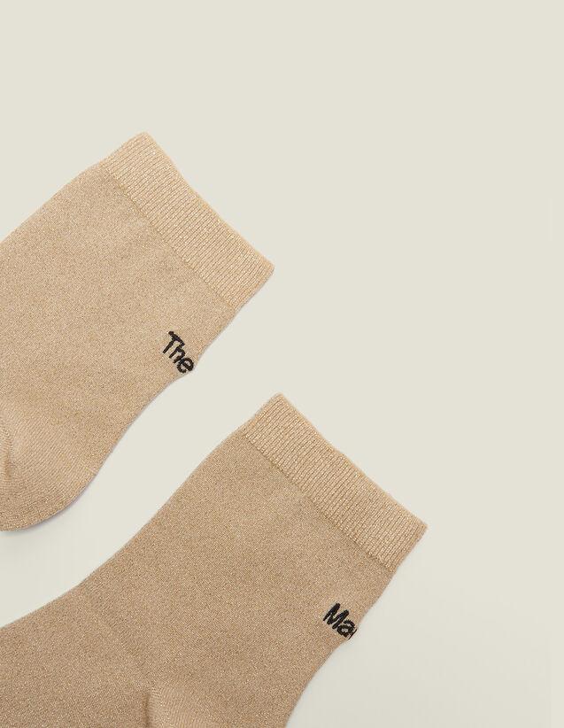 Calcetines De Lúrex Con Bordado : null color Oro