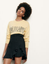 Falda corta con volante asimétrico : Faldas & Shorts color Negro