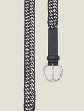 Cinturón Ancho De Piel Y Cadena : Cinturones color Negro
