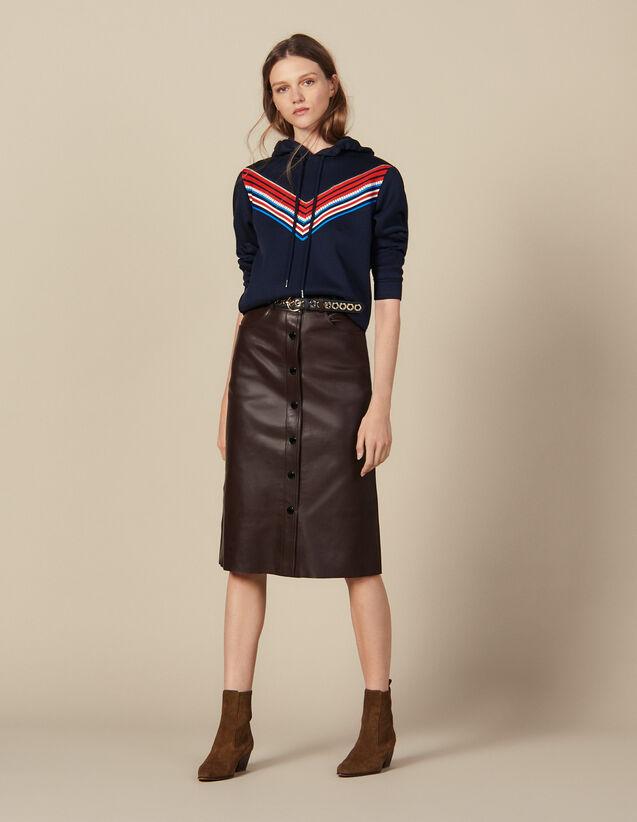 Falda Midi De Piel : Faldas & Shorts color G023