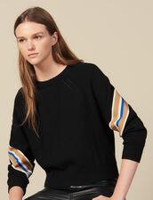 Jersey con pasamano ancho de rayas : Jerseys & Cárdigans color Negro