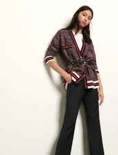 Cárdigan efecto tweed, pasamanos rayas : Jerseys & Cárdigans color Azul/Rojo
