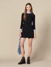 Vestido recto con cuello de volantes : FBlackFriday-FR-FSelection-30 color Negro