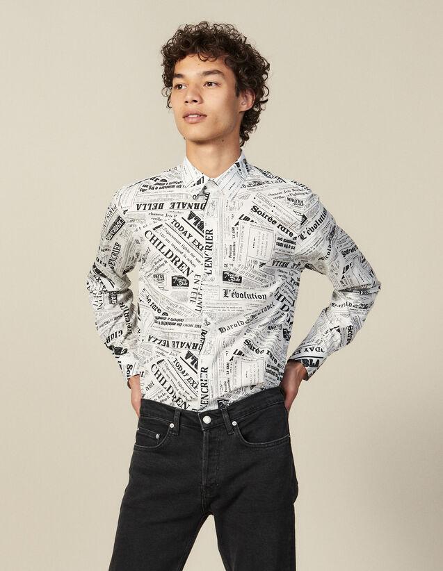 Camisa con estampado papel de periódico : Camisas color Blanco / Negro