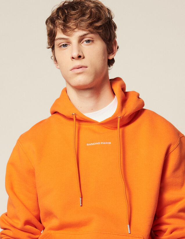 Sudadera Hoodie Con Logotipo Bordado : HAnciennesCollections color Naranja