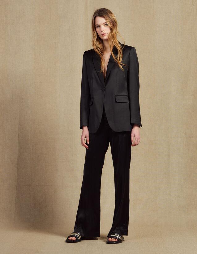 Pantalón De Tejido Satinado : Pantalones color Negro