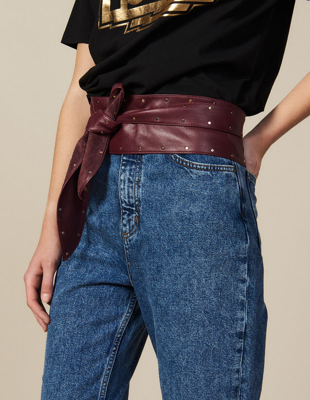 Cinturón De Piel Lisa Anudable : Cinturones color Burdeos