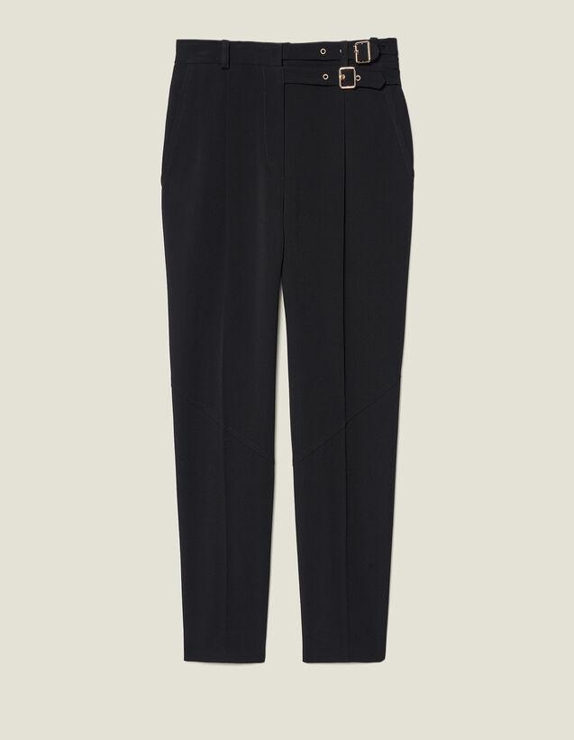 Pantalón de talle alto con hebillas : FBlackFriday-FR-FSelection-Pantalons&Jeans color Negro