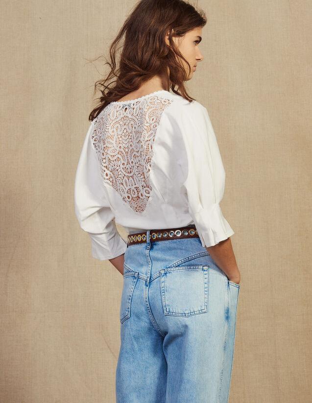 Camiseta Con Espalda De Encaje : LastChance-FR-FSelection color Crudo