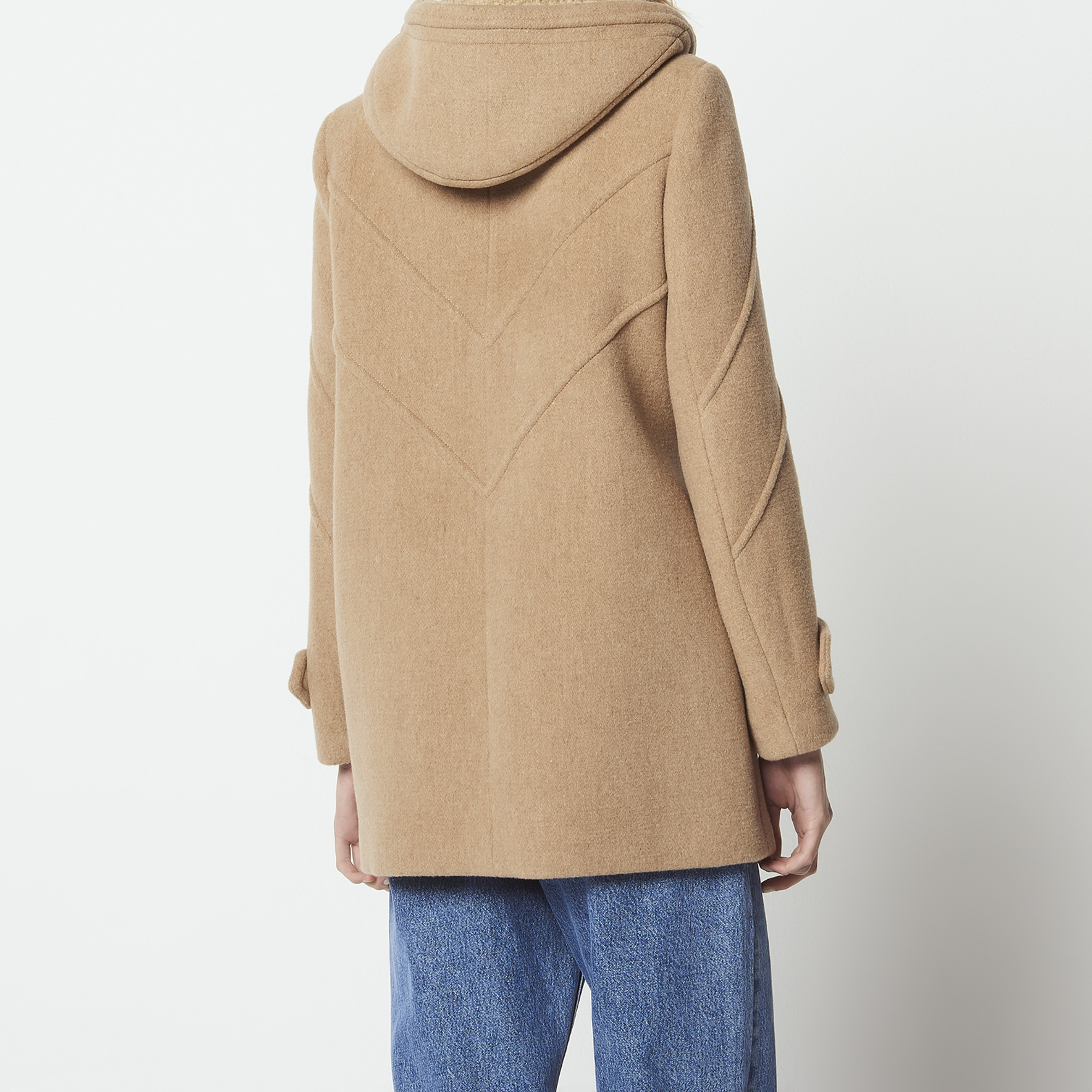 ... Abrigo con capucha de paño de lana   Blousons   Manteaux color Camel ... 89b680256fa7