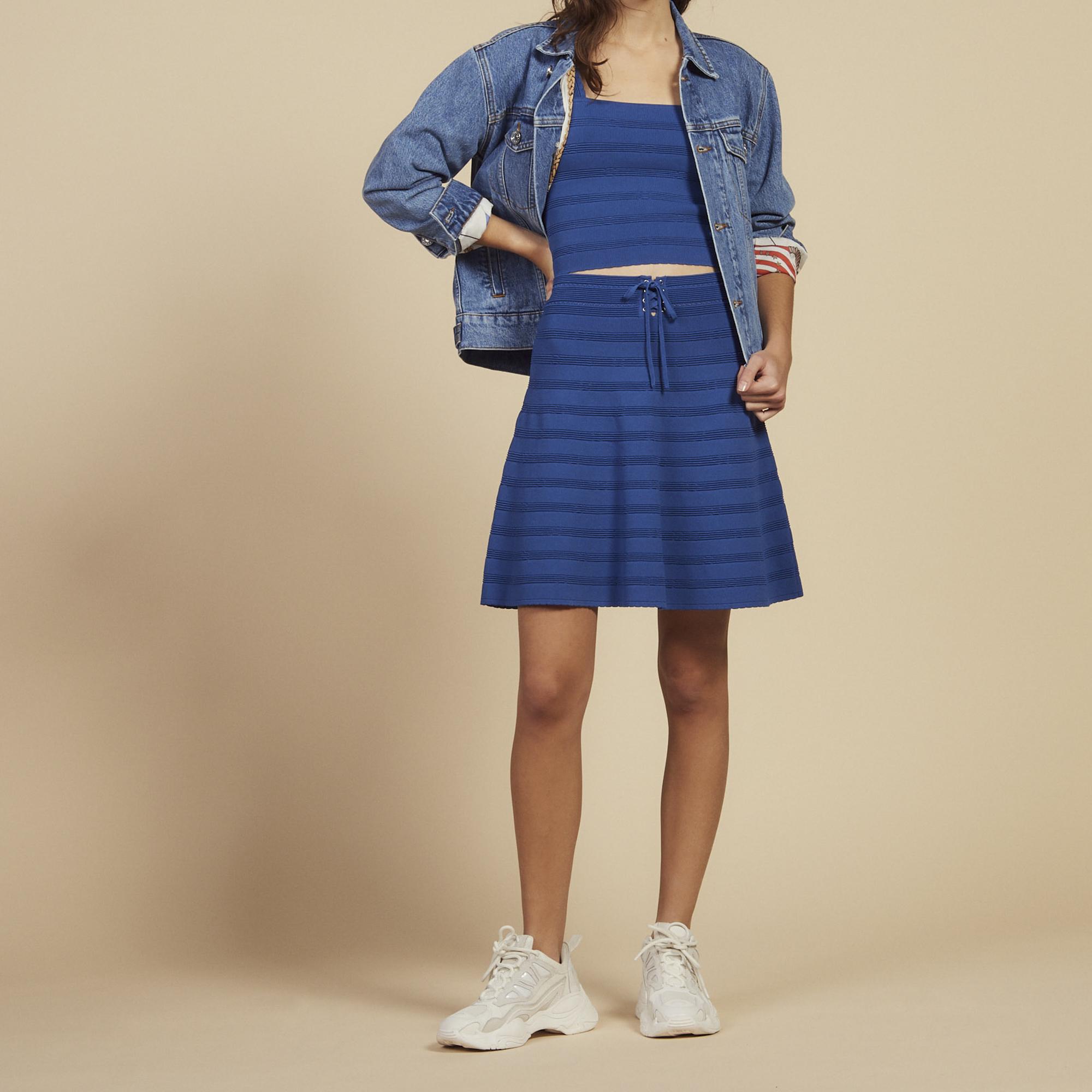 Falda corta evasé de punto   Faldas   Shorts color Bleu jean ... 549e25fa4d96