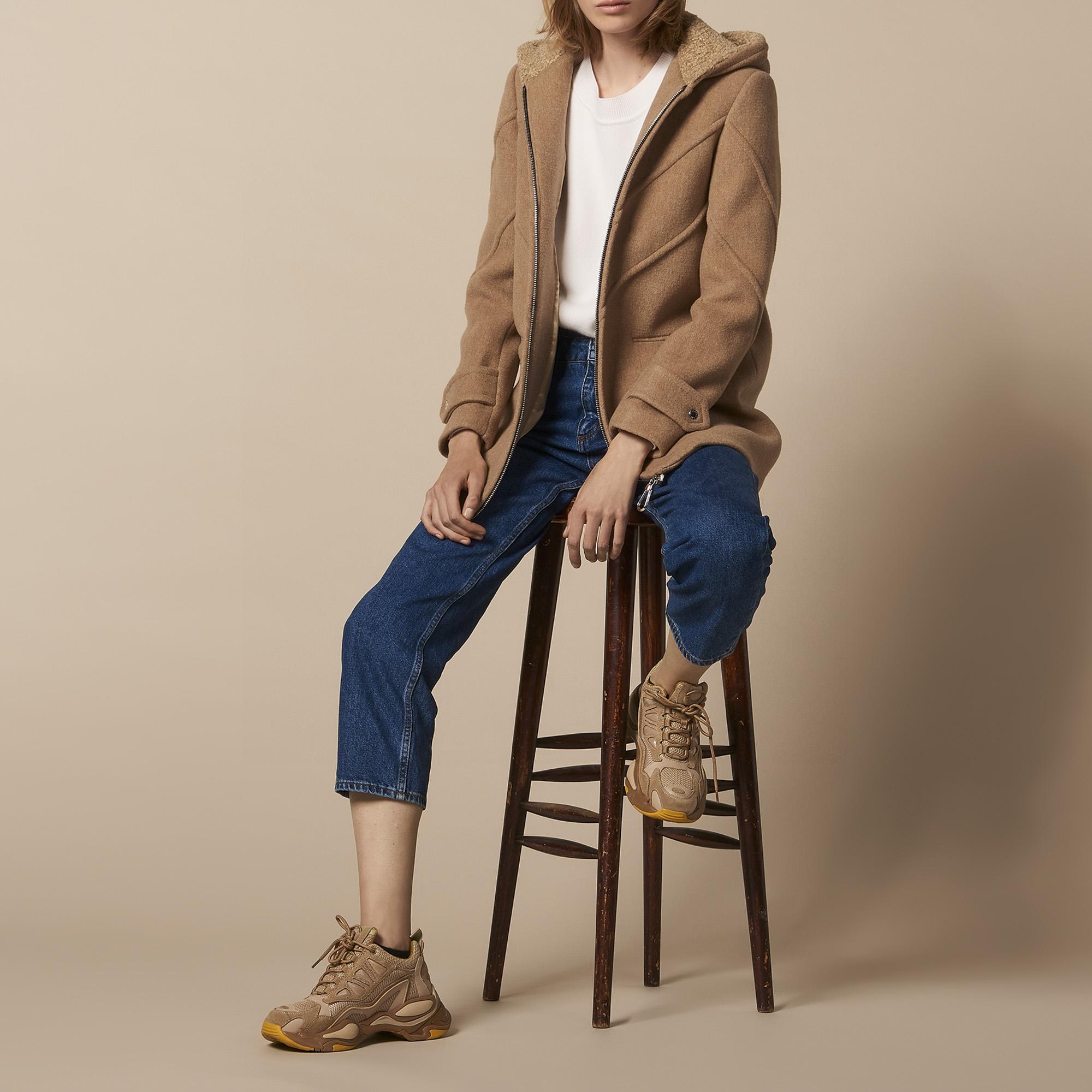 Abrigo con capucha de paño de lana   Blousons   Manteaux color Camel ... d56fabbdf0a7